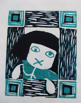 Untitled (Little Girl Lost) (2007) lino print on paper - Pui Lee