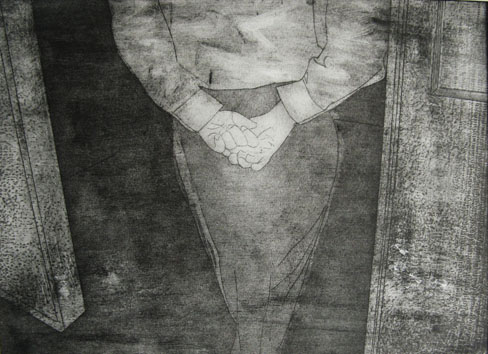 Untitled (man) (2009) etching on paper - Pui Lee