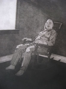 Untitled (old man) (2009) etching on paper - Pui Lee