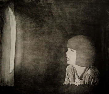 Untitled (watching tv) (2009) etching on paper - Pui Lee