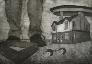 Still Lives series: Falling in Silence (2010) etching on paper - Pui Lee