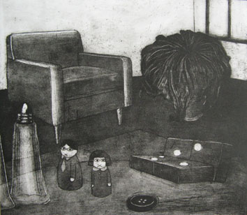 Still Lives series: In Silence (2010) etching on paper - Pui Lee