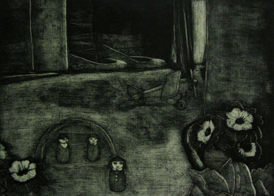 Still Lives series: Standby (2011) - etching on paper - Pui Lee
