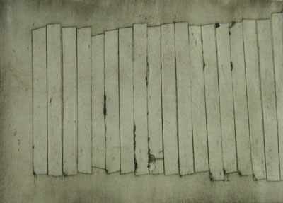 Wall ii (2011) collagraph on paper - Pui Lee