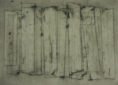 Wall (iv) (2011) collagraph on paper - Pui Lee