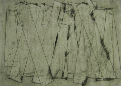 Wall (v) (2011) collagraph on paper - Pui Lee