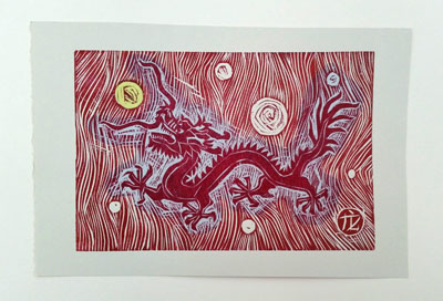 Dragon (i) [redyellowblue] (2016) woodcut on paper - Pui Lee