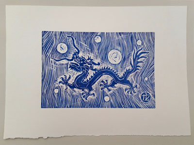 Dragon (i) [blue] (2016) woodcut on paper - Pui Lee