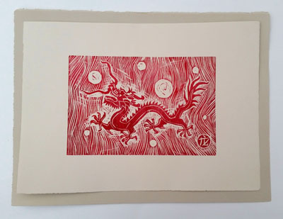 Dragon (i) [red] (2016), woodcut on paper - Pui Lee