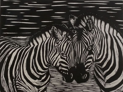 Zebras (i)(2016), woodcut on paper - Pui Lee