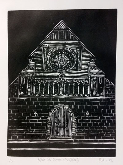 After St. Dominic's (bw) (2016) woodcut on paper - Pui Lee