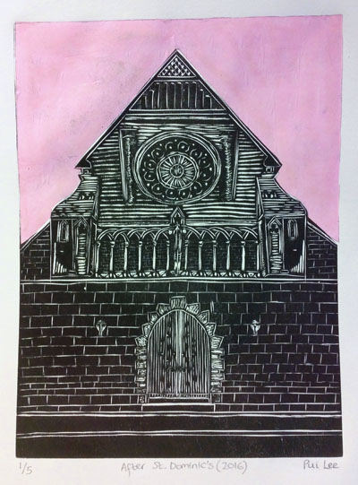 After St. Dominic's (pink) (2016) woodcut and chine colle on paper - Pui Lee