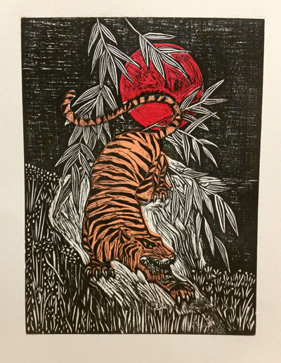 Crouching Tiger (2017) woodcut and chine colle on paper - Pui Lee