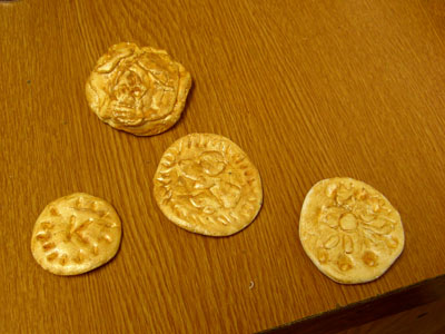 Some of the Roman coins made during the workshop!