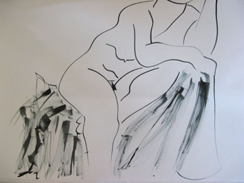 Life Drawing (2007) ink on paper - Pui Lee