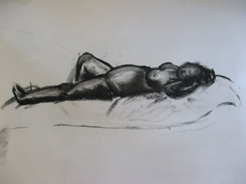 Life Drawing (2007) charcoal on paper - Pui Lee
