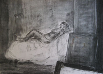 Life Drawing (2007) chalk and charcoal on paper - Pui Lee