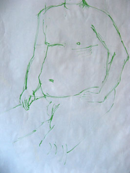 Life Drawing (2007) green ink on paper drawn with twig - Pui Lee