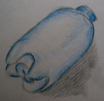 Untitled (bottle) pencil and pencil crayon on paper -Pui Lee