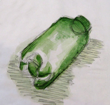 Untitled (bottle) (2004) pencil and watercolour on paper - Pui Lee