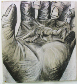 Life drawing (with hand) (2005) chalk and charcoal on paper - Pui Lee