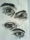 Drawing studies (eyes) (2008) charcoal on paper - Pui Lee