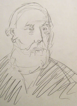Untitled (old man) (2005) pencil on paper - Pui Lee