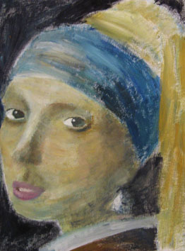 Girl with Blue Head-Band (2006) oil paint on board - Pui Lee