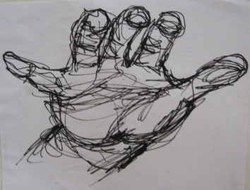 Study of Hand (2005) rollerball on paper - Pui Lee