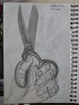 Hand Holding Scissors (2004) pencil, rollerball and tippex on paper - Pui Lee