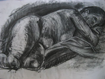 Life Drawing (2005) chalk and charcoal on paper - Pui Lee