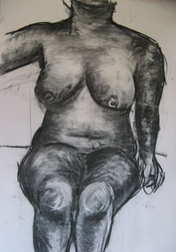 Life Drawing (2006) charcoal on paper - Pui Lee