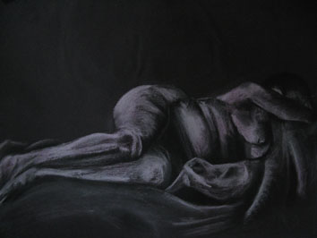 Life Drawing (2005) chalk and charcoal on black paper - Pui Lee