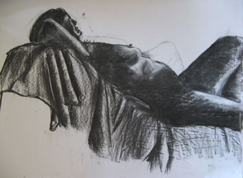 Life Drawing (2006) chalk and charcoal on paper - Pui Lee