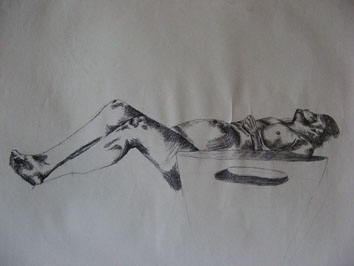 Life Drawing (2006) biro on paper - Pui Lee