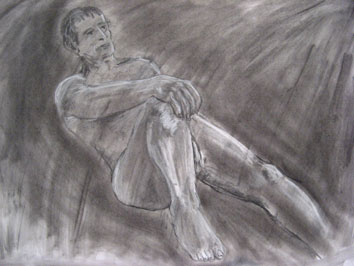 life drawing (2008) chalk and soot on paper - Pui Lee