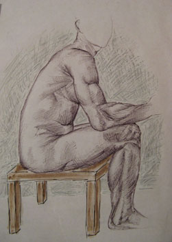 Study of Seated Male (2005) mixed media on paper - Pui Lee