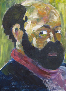 Cezanne With Fake Beard (2006) oil paint on board - Pui Lee
