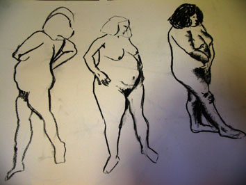 Quick Life Drawing Studies (2005) charcoal on paper - Pui Lee