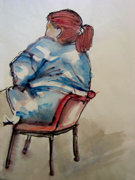 Sat Down (2005) rollerball and watercolour on paper - Pui Lee