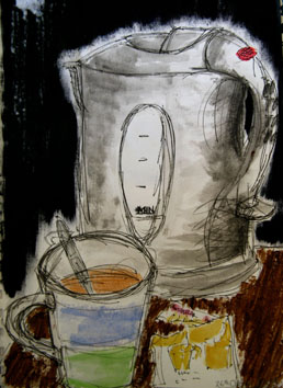 Still Life (kettle) (2004) mixed media on paper - Pui Lee