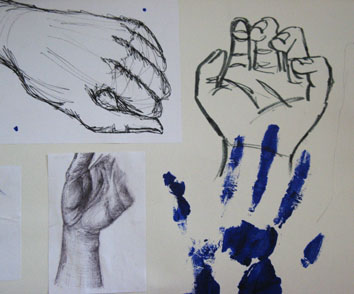 Studies of Hand (2005) mixed media on paper - Pui Lee