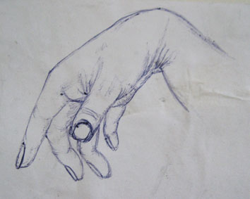 Detailed Study of Hand (2005) biro on paper - Pui Lee