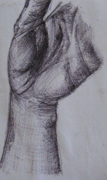 Detailed Study of Hand and Wrist (2005) biro on paper - Pui Lee