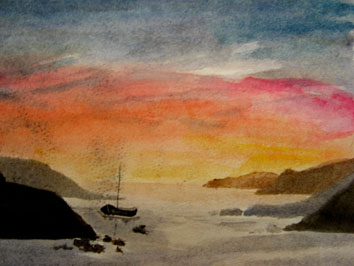 Untitled (sunset at sea) (2005) watercolour on paper - Pui Lee