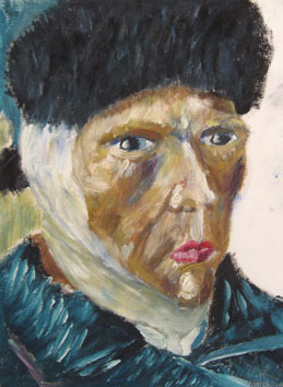Van Gogh with Lipstick (2006) oil paint on board - Pui Lee