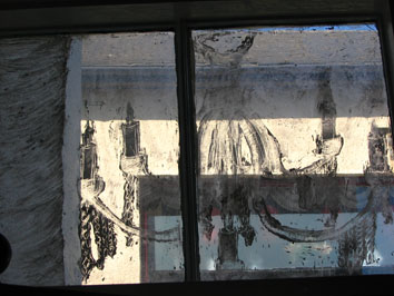 Detail of whitewash drawing window installation (2005) iii