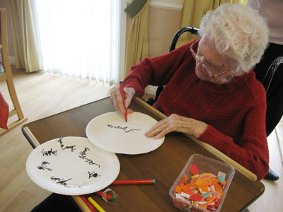 The residents were able to express themselves through drawing during the session.