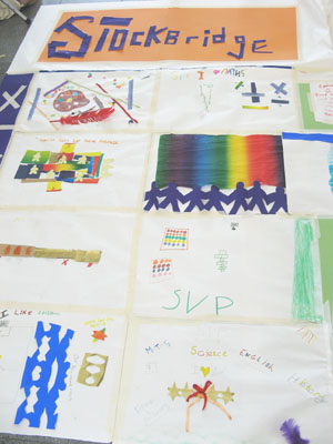 Close-up of the giant paper quilt