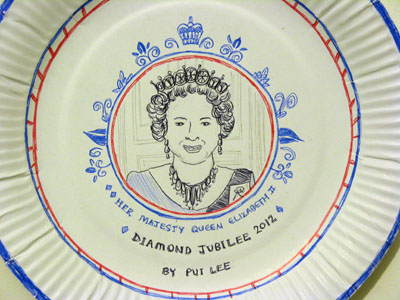 Jubilee paper plate design by Artist Pui Lee